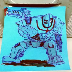 #marchofrobots  damaged #battle #bot #doodle #drawing #sketch #art #postitnotes #postitclub #mech #mecha #robot #pen #arthabit #twitter #monday