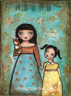Sisters and Cat Folk Art Original Whimsical by pinkglitterfae,