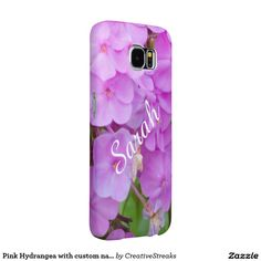 Pink Hydrangea with custom name Samsung Galaxy S6 Cases