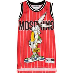 Moschino Bugs Bunny printed jersey mini dress (5.100 RON) ❤ liked on Polyvore featuring dresses, tops, red, red loose dress, loose mini dress, red dress, jersey dresses and short loose dresses