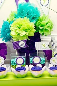 """Photo 7 of Purple and Lime Whimsical / Birthday """"Tinkerbell Inspired Fairy Party. Diy Fleur, Hawaian Party, Purple Love, Purple Style, Purple Colors, Bright Colours, Purple Flowers, Tissue Paper Flowers, Craft Flowers"""