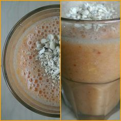 Fresh smoothie: banana, orange, strawberry, cashews.