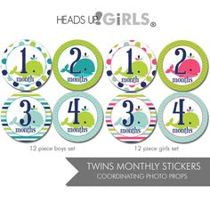 Twins Set of 24 Round Monthly Stickers Whales in Navy Blue, Aqua, Lime Green and Pink Photos Props for Twins Boy Girl by HeadsUpGirlsBaby, $17.00