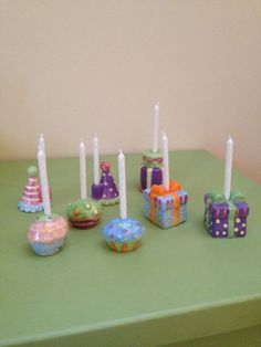 Ceramic Birthday Candle Holder Set of 8. Cupcakes, Cakes, Hats, Presents #Unbranded #BirthdayChild
