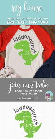 #dinosaur #trex #svg #cricut #silhouettecameo #kids Cricut Iron On Vinyl, Silhouette Cameo, Silhouette Projects, Silhouette Studio, Dinosaur Shirt, Dinosaur Birthday Party, Crafts To Make And Sell, Iron On Transfer, T Rex