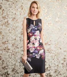 d4e1554d21d2 Adrianna Papell Floral Print Round Keyhole Neck Scuba Sheath Dress   Floral Print Adrianna