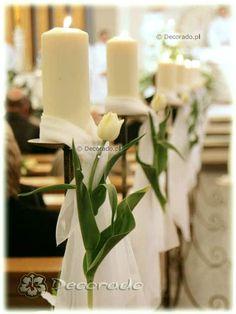 Dekoracja ślubna kościoła pw. Św. Jana Bosko – Eleganckie świeczniki