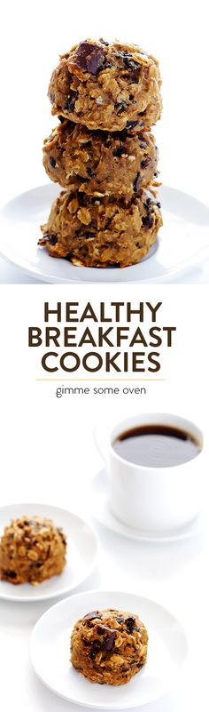 Healthy Breakfast Cookies -- these tasty treats are made with healthier ingredients that will give you extra energy for the day ahead! | gimmesomeoven.com