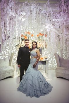 """May 2020 - Explore weddingsonlyin's board """"Bridal Cocktail Gowns Engagement Dress For Groom, Engagement Gowns, Couple Wedding Dress, Indian Engagement, Pakistani Bridal, Bridal Lehenga, Indian Bridal, Bengali Bride, Lehenga Gown"""