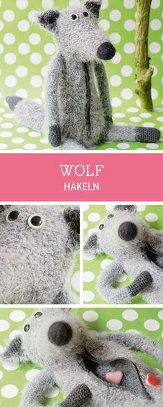 Häkelanleitung für einen süßen Wolf, originelle Tasche häkeln / diy crocheting pattern: how to crochet a wolf via DaWanda.com