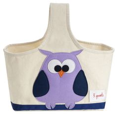 3 Sprouts Diaper Caddy in Purple Owl