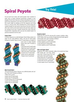 Useful tutorial and formulas for spiral tubular peyote stitch (a.k.a. Cellini spiral):