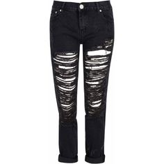 Black Distressed Boyfriend Jeans (£35) ❤ liked on Polyvore featuring jeans, pants, bottoms, pantalones, black, loose fitting boyfriend jeans, distressed boyfriend jeans, loose fit boyfriend jeans, loose boyfriend jeans and torn jeans