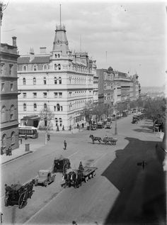 Corner of Bourke and William Streets, Melbourne, c1915. Photograph from State Library Victoria / Kelynak family.