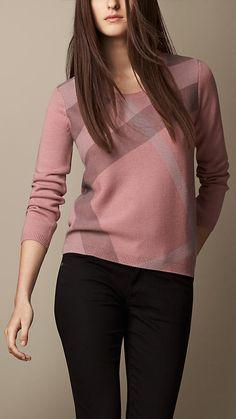 Suéter de cashmere de lã com detalhes em xadrez | Burberry