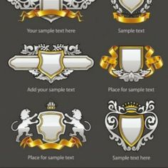 Find Heraldic Vintage Emblems Set Silver Gold stock images in HD and millions of other royalty-free stock photos, illustrations and vectors in the Shutterstock collection. Eps Vector, Vector Graphics, Vector Free, Game Ui, Scrapbook Albums, Game Design, Chevrolet Logo, Your Design, Graphic Art