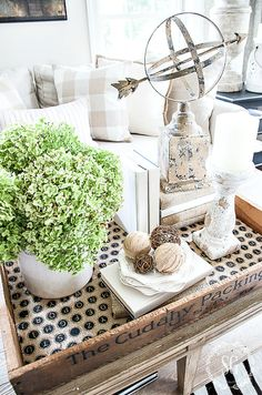 Living Room Vignettes Designs You'll Obsess Over. Check out these ideas for using vignettes to bring interest and personality into your living room. Coffee Table Vignettes, Fall Vignettes, Decorating Coffee Tables, Coffe Table, Cool Ideas, Cuisines Design, Easy Home Decor, Tray Decor, Vintage Home Decor