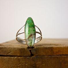 Green Malachite Silver Ring