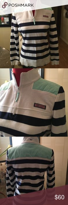 "Vineyard Vines Shep Shirt sz S Vineyard Vines Spring Shep Shirt. 100% cotton. Navy and white stripes with teal color shoulder inserts. Super cute. Like new condition. Shoulder to shoulder 16"" Arm 24"" Vineyard Vines Tops Tees - Long Sleeve"