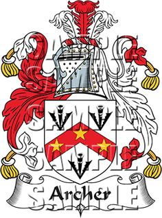 Archer Family Crest apparel, Archer Coat of Arms gifts