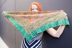 """Monika's """"Faberge"""" Shawl.  Pattern on Ravelry, by Laura Aylor.  This highly detailed and impressive shawl uses the scale quilting stitch!  Monika chose Madelinetosh Tosh Merino Light Onesies - 1 skein each of Mansfield's Garden Party and  Waterlily.  Size 2 and 2.75mm needles. http://www.ravelry.com/patterns/library/faberge"""