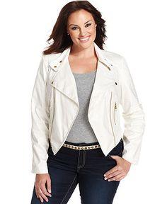 Debbie Morgan Plus Size Jacket, Faux-Leather Motorcycle - Plus Size Jackets & Blazers - Plus Sizes - Macy's