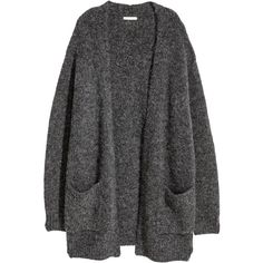 H&M Knit Cardigan $29.99 ($30) ❤ liked on Polyvore featuring tops, cardigans, outerwear, jackets, sweaters, ribbed knit top, chunky knit cardigan, rib knit cardigan, long sleeve knit tops and dark gray cardigan