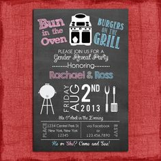 Printable Gender Reveal Bun in the Oven Burgers on the Grill 4x6 or 5x7 Invitation Print at home DIY on Etsy, $15.00