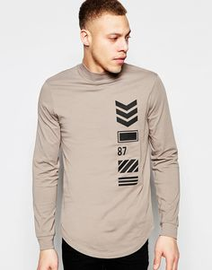 ASOS Relaxed Longline Long Sleeve T-Shirt With Turtle Neck And Print