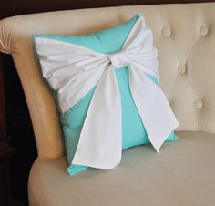 Throw Pillow White Bow on Bright Aqua Pillow 14x14 -Tiffany Blue Pillow-