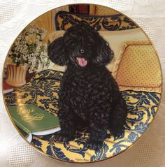 "Black Poodle Dog Cozy Companion Higgins Bond Danbury Mint 8"" Collector Plate"