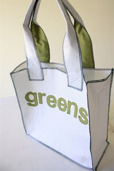 DIY Recycled Grocery Totes by danamadeit: Made of fused recycled grocery totes. Perfect for Earth Day! #DIY #Grocery_Tote #Upcycle #Green