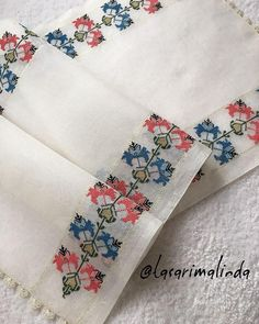Cross Stitch Borders, Cross Stitch Flowers, Cross Stitch Patterns, Ribbon Embroidery, Doilies, Floral Tie, Diy And Crafts, Prints, Handmade