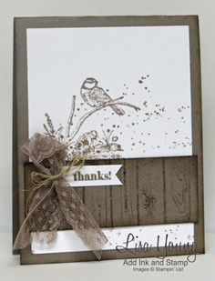 Lisa Young: Add Ink and Stamp – Moon Lake in Tip Top Taupe - (SU stamps: Stamps: Moon Lake Occ], Gorgeous Grunge, Hardwood background). (NOTE: a layered labels die would be a nice touch). Bird Cards, Butterfly Cards, Fall Cards, Christmas Cards, Stamping Up Cards, Masculine Cards, Card Tags, Creative Cards, Scrapbook Cards
