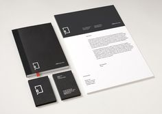 Logo and stationery with black card and white ink detail created by Freytag Anderson for advertising industry guide Little Black Book