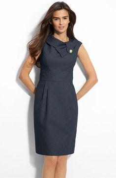 Eliza J Folded Collar Jacquard Sheath Dress   Nordstrom - StyleSays