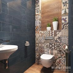 Green bathroom: complete guide to decorate this little corner - Home Fashion Trend Bathroom Tile Designs, Bathroom Design Small, Bathroom Interior Design, Bathroom Gray, Master Bathroom, Toilet Paper Holder Stand, Small Toilet Room, Bad Styling, Downstairs Toilet