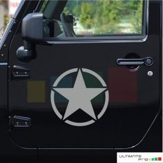 2x gray star decals/ stickers for Jeep Wrangler