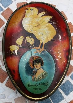 Rare Dainty Dinah Toffee by Horner's in the shape of an egg and with chicks by Tinternet on Etsy