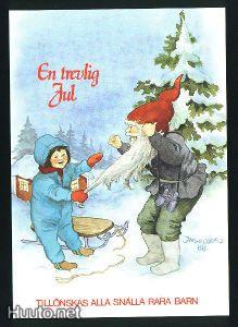 """Inge Löök, """"Lapsi vetää tonttua parrasta"""", -postikortti - 1.9 € - Joulukortit - Postikortit - Keräily - Huuto.net - (avoin)"""