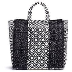 Truss Medium woven diamond stripe PVC tote ($195) ❤ liked on Polyvore featuring bags, handbags, tote bags, black, woven handbags, carryall tote, striped handbags, tote bag purse and print tote bags