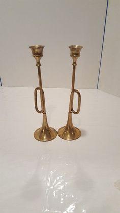 Set of 2 Vintage Brass Trumpet Candlestick Holders Candle Holders Shaped