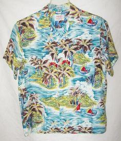 4d4c36286 Vintage Aloha Shirts Rayon Hawaiian Japan Palm Trees Catamarans 50s 60s M  EXC