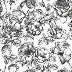 SIZE: 100 x 108 This black and white floral wallpaper is printed on our traditional paste and glue wallpaper. Its high quality matte finish allows