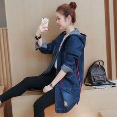 2017 New Spring Women Denim Jacket Fashion Hooded Jackets Casual Jeans Long Sleeve Coat Female Outwear Plus Size M-3XL F95