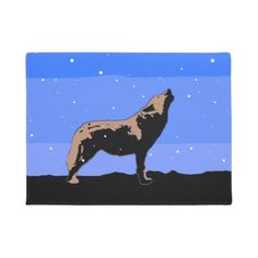 #Howling Wolf in Winter Doormat - #doormats #home & #living