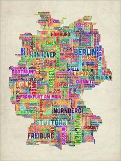 Trademark Art Germany Text Map Canvas Wall Art by Michael Tompsett, Size: 24 x Multicolor Map Canvas, Abstract Canvas, Canvas Wall Art, Canvas Size, Travel To Do, Framed Maps, Grafik Design, Map Art, Artist Canvas