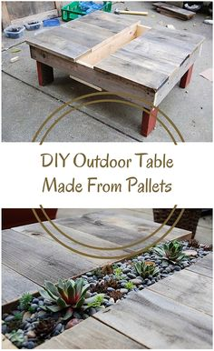 DIY Outdoor Table Made From Pallets - A dissected old shipping crate and some other random scraps of wood lying around the house turned into a patio side table with a planting strip down the middle. Use pallets to get the wood and hey presto... rustic, awesome outside table!