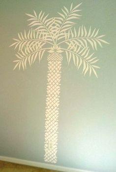 Raised Plaster Life Sized Palm Tree Stencil Wall Stencil