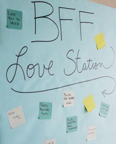Send some messages to your #BFFs. #Appreciation #Postitideas #BFFLoveStation @JillianMHarris